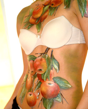 BODY ART - APPLES.   click here to zoom picture