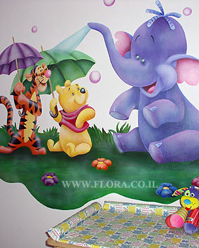 Wall paintings for Baby rooms - Winnie-the-Pooh, Tigger and Heffalump..   click here to zoom picture
