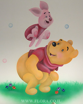 Winnie-the-Pooh and Piglet - baby room murals. Location: Holon. Muralist: Flora..   click here to zoom picture