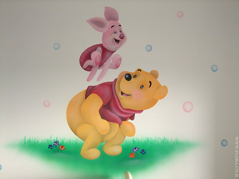 Winnie-the-Pooh and Piglet - baby room murals. Location: Holon