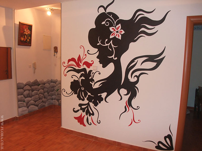 Women with flower murals. Interior design.