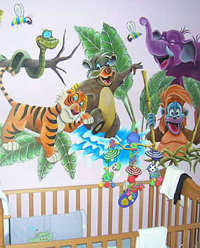Wall paintings in Baby Rooms –jungle painting.   click here to zoom picture