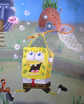 Wall paintings in Baby Rooms – painting the SpongeBob and his friends live in the underwater city of Bikini Bottom.   click here to zoom picture