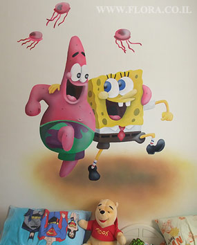SpongeBob and best friend Patrick Star. Childrens wall murals. Location: Ashkelon..   click here to zoom picture