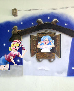 Kindergarten Pinokio in Ashdod. Wall paintings for Baby rooms..   click here to zoom picture
