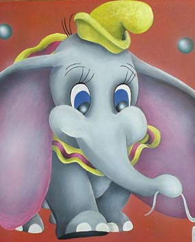 Wall paintings in baby rooms – Disney cartoons paintings - Dumbo.   click here to zoom picture