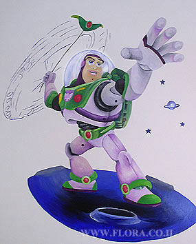 Wall paintings in baby rooms –Buzz Lightyear of Star Command.   click here to zoom picture
