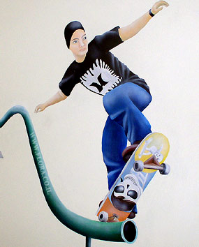 Wall painting - skateboarder. Location: Ashdod..   click here to zoom picture