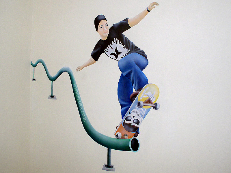Wall painting - skateboarder.
