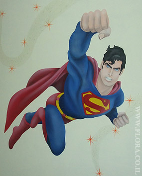 Superman – kids room murals. Muralist: Flora. Location: Ashdod..   click here to zoom picture
