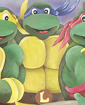 Wall paintings in Baby Rooms – painting the Teenage Mutant Ninja Turtles (Leonardo, Raphael, Michelangelo, Donatello).   click here to zoom picture