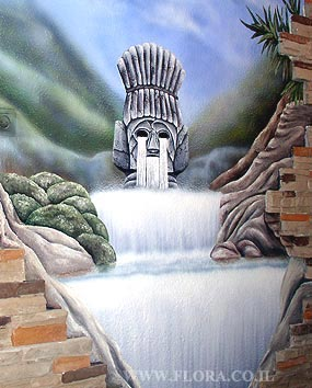 Waterfall and Inca wall painting.   click here to zoom picture