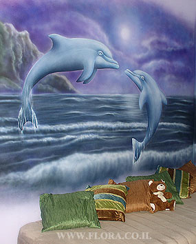 Teenagers room painting - dolphin`s reef.   click here to zoom picture
