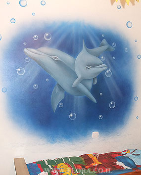 Wall murals - Dolphins. Muralist: Flora. Location: Rishon LeZion..   click here to zoom picture