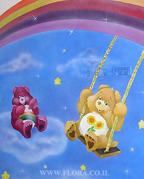 Flora murals kindergarten murals nursery habait for Care bears wall mural