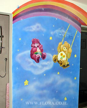 Wall painting - Care Bears (Funshine Bear and Cheer Bear). Location: Nursery Habait Hakibuzi in Ashkelon..   click here to zoom picture