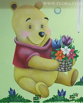 Wall paintings - nursery baby rooms. Winnie the Pooh. Location: Nursery Yalduti in Ashkelon..   click here to zoom picture
