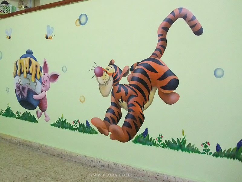 Wall paintings - Tigger and Piglet from Winnie the Pooh story.