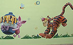 Wall paintings - nursery baby rooms. Painting Tigger and Piglet from Winnie the Pooh story. Location: Nursery Yalduti in Ashkelon.
