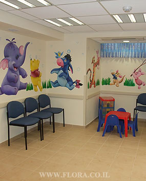 Pediatric office Murals. Wall painting of Winnie-the-Pooh, Tigger, Heffalump, Piglet, Roo and Eeyore from Winnie the Pooh story. Location: Meuhedet Healthcare Services in Ashdod, Pediatrics waiting room..   click here to zoom picture