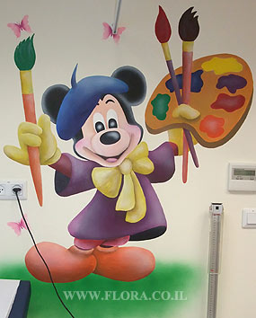 Wall painting of Mickey Mouse (Muralist). Location: Meuhedet Healthcare Services in Ashdod, Pediatric office..   click here to zoom picture