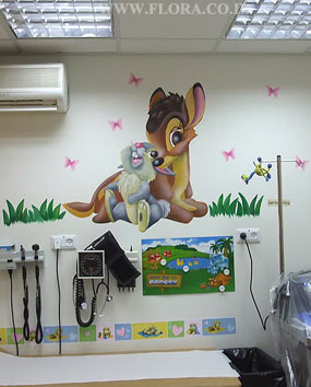 Wall murals - Bambi and Rabbit. Full wall view. Location: Meuhedet Healthcare Services in Ashdod, Pediatric office..   click here to zoom picture
