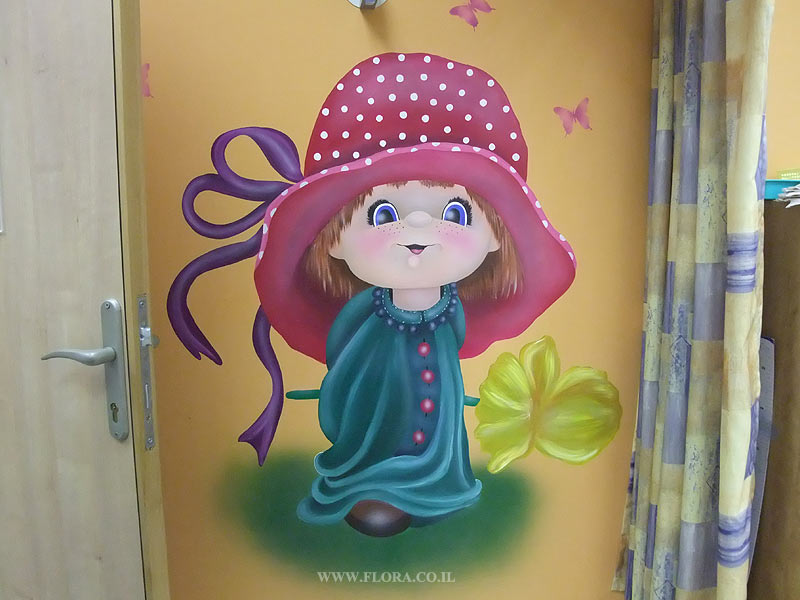Wall murals - Girl with flower. Location: Meuhedet Healthcare Services in Ashdod, Pediatric office.