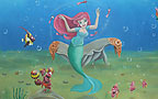 Kindergarten murals. The Little Mermaid - Ariel in the Underwater Kingdom. Ariel`s image was drawn In the center of an Undersea Kingdom while around her the Dancing images of Sebastian, Flounder and other residents of the Underwater Kingdom. In the background we can see the king Triton castle and sunken ship. Location: kindergarten ``Marina`` in Givat-Shmuel, external wall backyard. Drawing size: 2x12 meter. Painter: Flora.