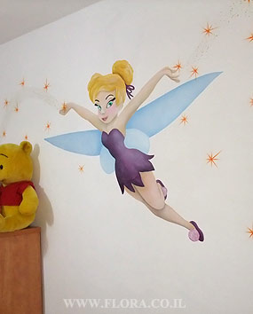 Childrens wall murals – Fairy Tinkerbell from Peter Pan story. Location: Ashdod..   click here to zoom picture