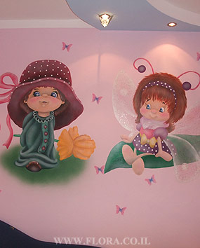 Girl with flower and butterfly fairy – baby room murals. Muralist: Flora. Location: Ashdod..   click here to zoom picture