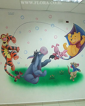 Swimming pool Murals. Wall painting of the Dumbo, Winnie-the-Pooh, Tigger, Piglet, Roo and Eeyore from Winnie the Pooh story. Location: Lobby of the swimming pool Dereh HaMaim in Ashdod. Muralist: Flora..   click here to zoom picture