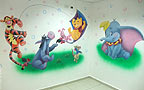 Swimming pool Murals. Wall painting of the Dumbo, Winnie-the-Pooh, Tigger, Piglet, Roo and Eeyore from Winnie the Pooh story. Location: Lobby of the swimming pool Dereh HaMaim in Ashdod. Muralist: Flora.