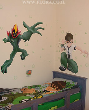 Ben 10 and alien hero Swampfire - kid room murals. Omnitrix Aliens Swampfire is a Methanosian from the planet Methanos. Swampfire is a plant-like alien with a fire-patterned head. He is described as a living swamp.Muralist: Flora. Location: Mazkeret Batia..   click here to zoom picture