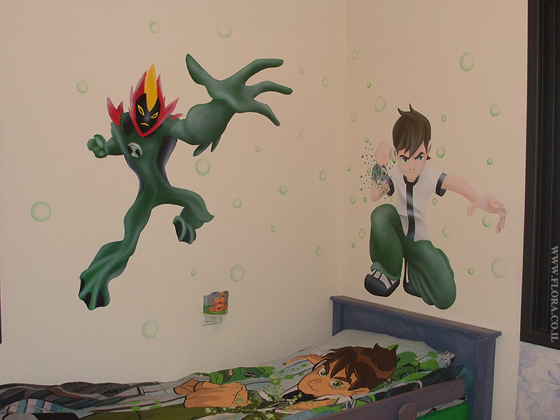Ben 10 and alien hero Swampfire - kid room murals.