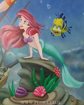 Baby Rooms Murals. Ariel Zoom View. The Little Mermaid Ariel And King  Triton Were