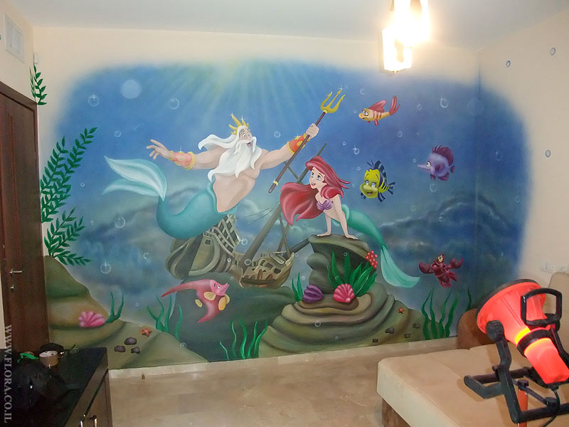 Flora murals kids rooms baby rooms murals the for Ariel wall mural