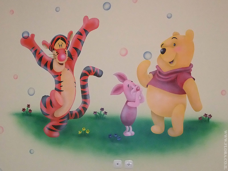 Winnie-the-Pooh, Tiger and Piglet - baby room murals. Location: Ashdod