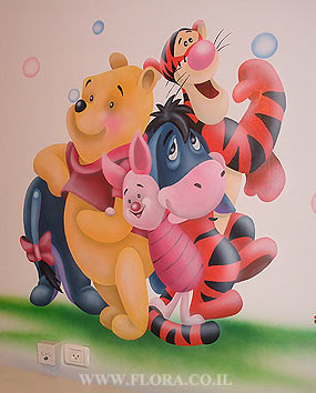 Winnie-the-Pooh, Eeyore, Piglet and Tiger. Babies room mural. Winnie-the-Pooh wall painting. Location: moshav Shahar. Muralist: Flora..   click here to zoom picture