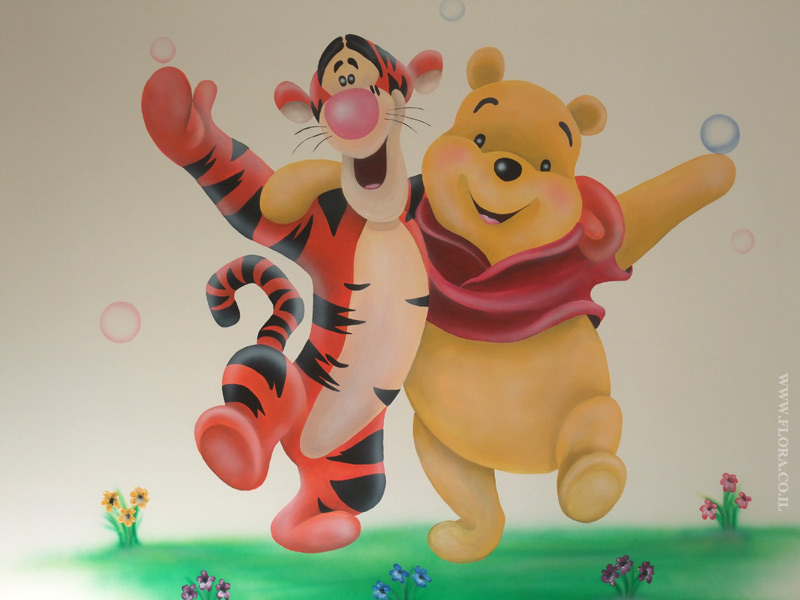 Winnie-the-Pooh and Tiger - baby room murals.