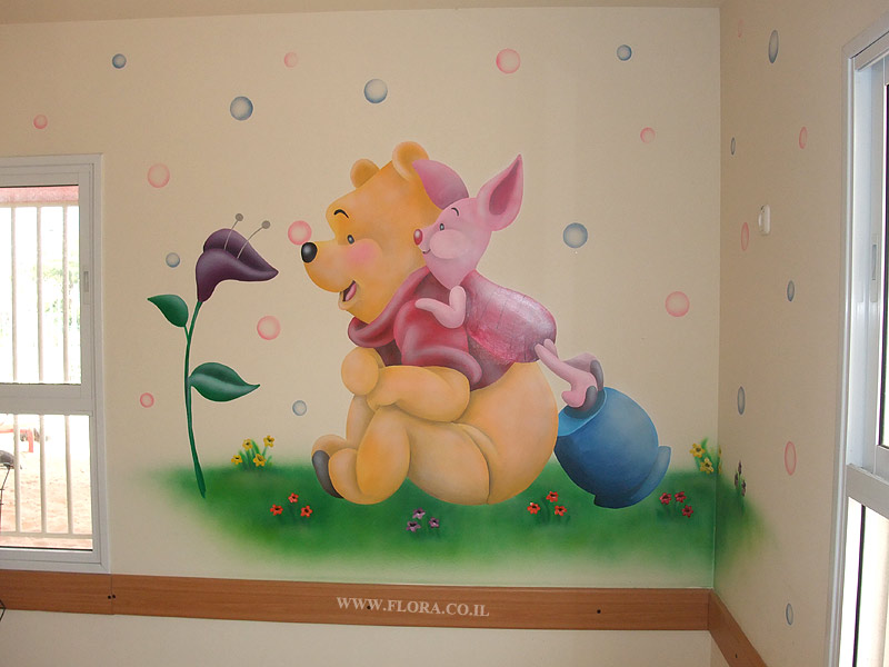 Winnie-the-Pooh and Piglet - baby room murals.