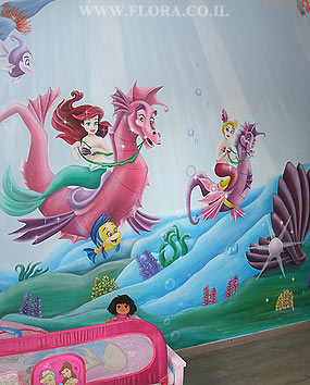 Baby room murals. Ariel`s Undersea Adventure. Mermaid Ariel on walrus. Sun rays caressing her hair. Shell and pearl in it. Flounder and other residents of the Underwater Kingdom swimming alongside. Ashdod. Wall paint drawing size 3 meter. Painter Flora..   click here to zoom picture