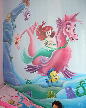 Girls Room Murals. Ariel`s Undersea Adventure on walrus. Sun rays caressing her hair. Shell and pearl in it. Flounder and other residents of the Underwater Kingdom swimming alongside. Ashdod. Wall paint drawing size 3 meter. Painter Flora..   click here to zoom picture