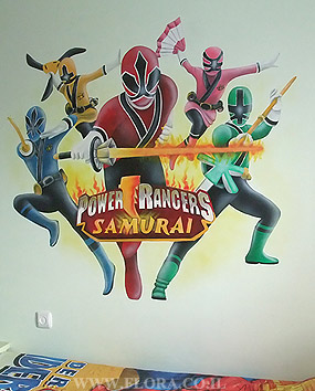 Power Rangers Samurai wall mural. Kids room Murals. Full wall view. Ashdod. Muralist: Flora..   click here to zoom picture