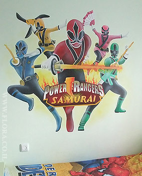 Power Rangers Samurai mural. Kids room Murals. Full wall view. Ashdod. Muralist: Flora..   click here to zoom picture